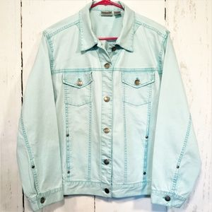 Chico's Sz 2 = L or 12 Blue Stretch Trucker Jacket